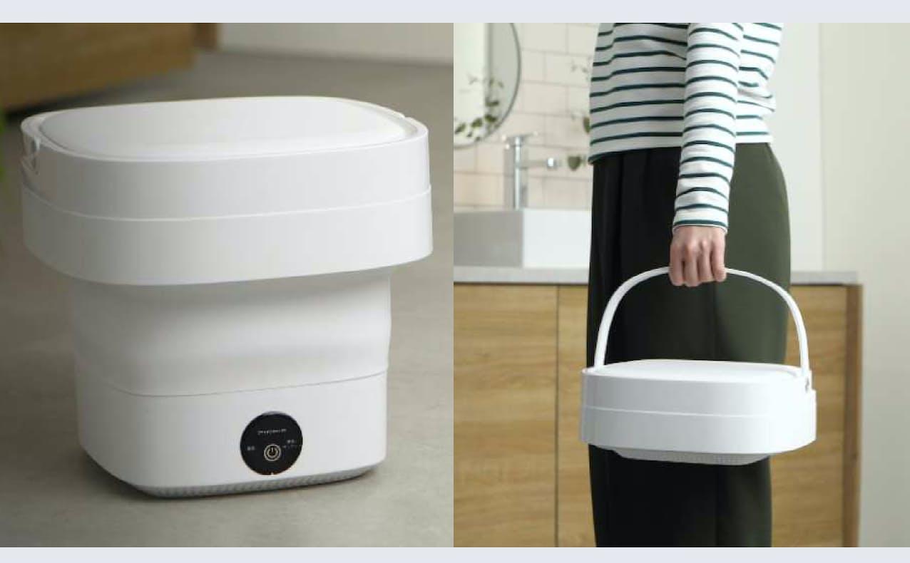 ドウシシャの小型洗濯機(左)は不使用時には折り畳める(右)