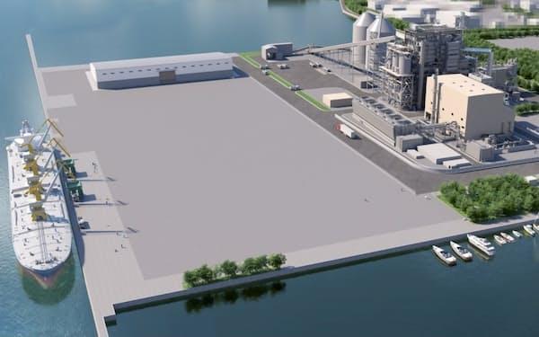 下関バイオマス発電所は燃料の木質ペレットを積んだ船を横付けして搬入(完成イメージ)