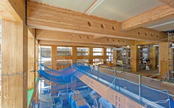 建設現場の1~2階。4月2日撮影(写真:大林組)