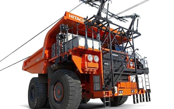 日立建機は架線からの給電で発電用エンジンをサポートするダンプトラックを展開してきた