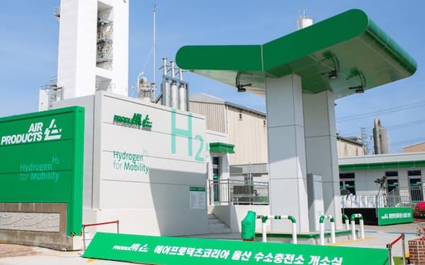 エアープロダクツはこのほど、韓国の蔚山の産業ガス施設に水素ステーションを開設した(エアープロダクツ提供)
