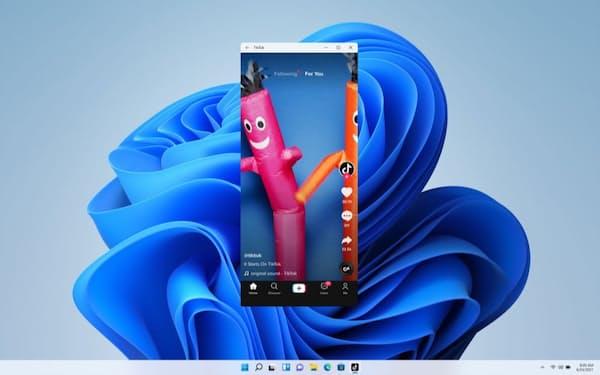 Windows11ではアンドロイドアプリを使える。写真中央は「TikTok」