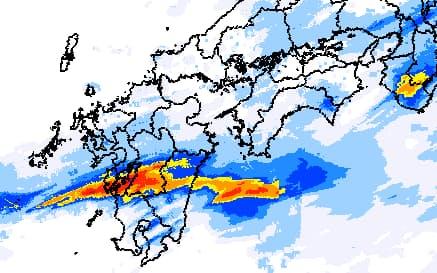 線状降水帯はしばしば豪雨災害をもたらす(2020年7月4日午前3時の解析雨量=気象庁報告書から)