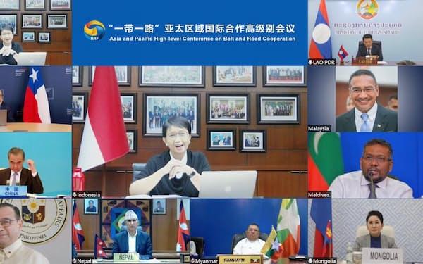 一帯一路協力に関するアジア太平洋ハイレベル会議(6月23日)=インドネシアのルトノ外相のツイッター