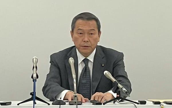 横浜市長選への出馬を表明した小此木氏(25日、横浜市)