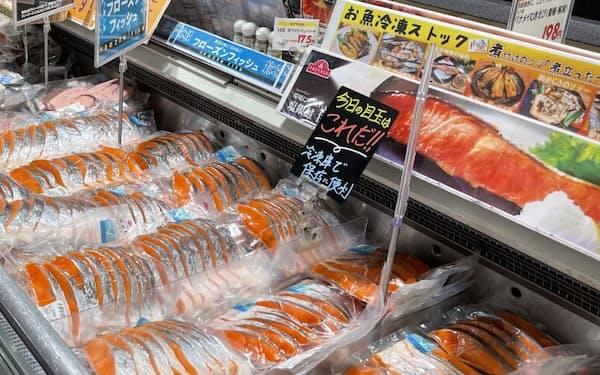 イオンリテールは鮮魚や精肉の冷凍食品にも力を入れる(埼玉県戸田市のイオンスタイル北戸田)