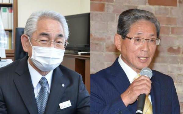 北海道寿都町長選挙には現職の片岡町長(左)と新人の越前谷氏(右)が出馬する