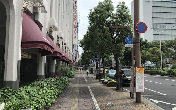 コロナ第4波で岡山県にも緊急事態宣言が出た(最高路線価地点の岡山高島屋前、5月16日)