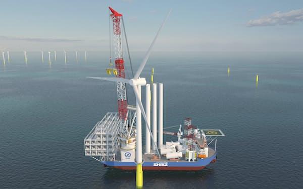 清水建設は22年完成予定のSEP船の運航管理で、ノルウェー社の支援を受ける(イメージ)