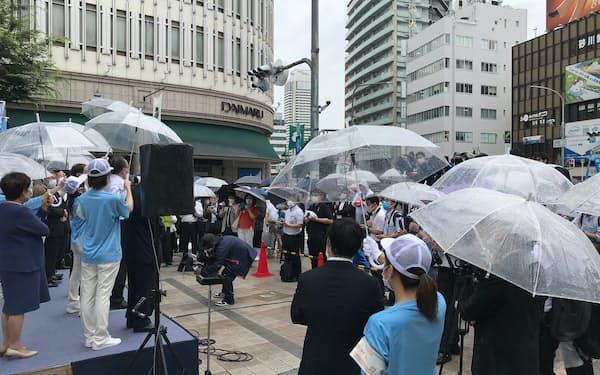 兵庫県知事選が1日告示され、街頭で候補者の選挙活動が始まった(1日午前、神戸市)