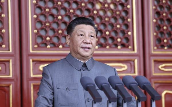 中国共産党創立100年記念式典で演説する習近平総書記=新華社・AP