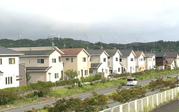 いわきニュータウンの開発予定地周辺の街並み(福島県いわき市)