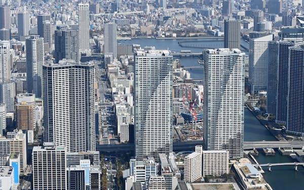 低金利と物件価格の上昇で住宅ローン借入額が増加する傾向にある(東京都中央区)