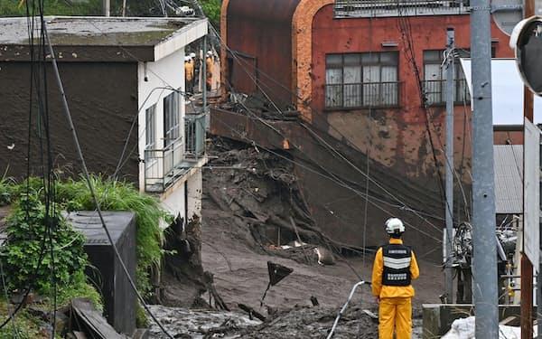 土石流が発生した静岡県熱海市