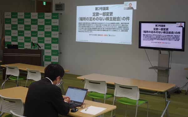 会場参加者ゼロで開かれたアステリアの株主総会(東京・品川)