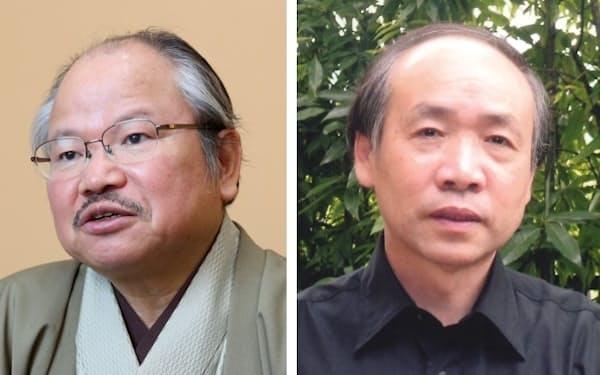 作者の安部龍太郎氏(左)と挿絵を担当する西のぼる氏