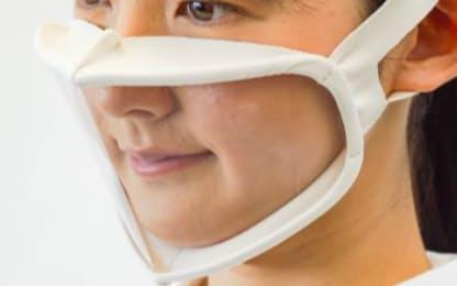 「顔がみえマスク」は口周りやほほ部分まで透明フィルムで覆った