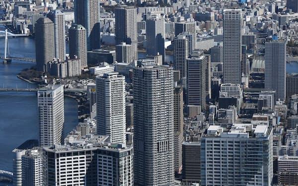 マンションには安定利回り目当ての投資資金が集まっている(東京湾岸部)