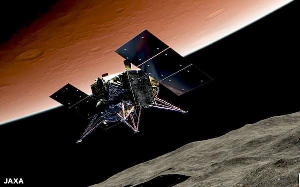 フォボスに着陸するMMX探査機の想像図=JAXA提供