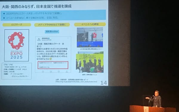 シンポジウムで講演する井上信治万博相(6日、大阪市内)