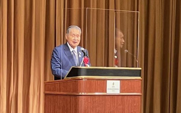 東京大会の無観客開催に言及した森元首相(6日、都内)