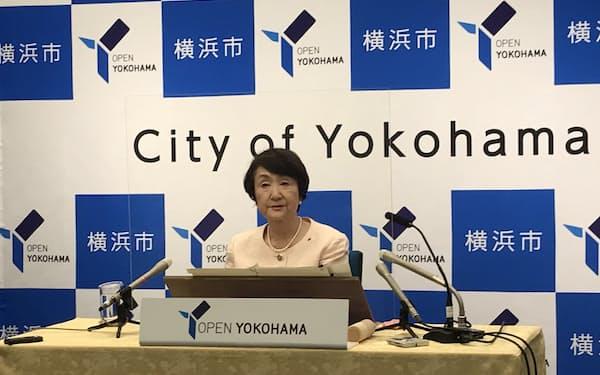 横浜市長選への出馬を熟慮すると表明した林市長(7日、横浜市)