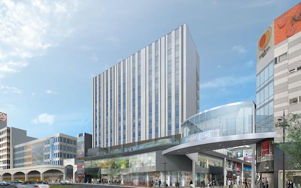 建設予定の複合施設には星野リゾートのホテルやパルコが入る(イメージ)