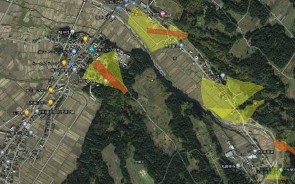 衛星画像データで新たな崩壊や盛り土などの地形改変の有無を確認する=新潟県提供