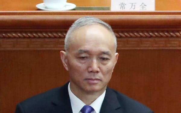 中国の蔡奇・北京市党委員会書記(北京市の人民大会堂)