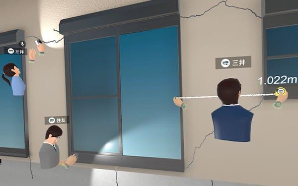 研修用VRでは実際に手を動かし、ひびの大きさの計測などができる