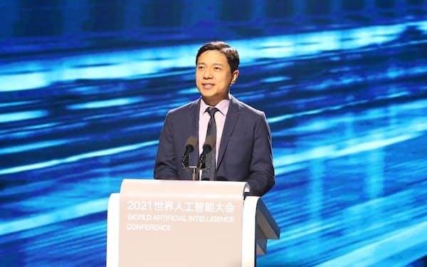 百度の李彦宏董事長兼CEOは社会の発展に貢献する姿勢を強調した(上海市の世界AI大会、同社提供)