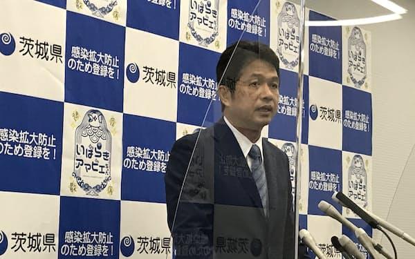 茨城県の大井川知事は県内の感染状況について「予断を許さない」と述べた(8日、茨城県庁)