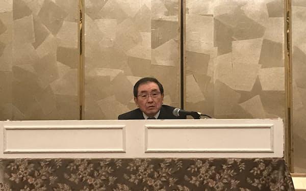 経団連の十倉会長は関西会員懇談会に出席した(8日、大阪市)