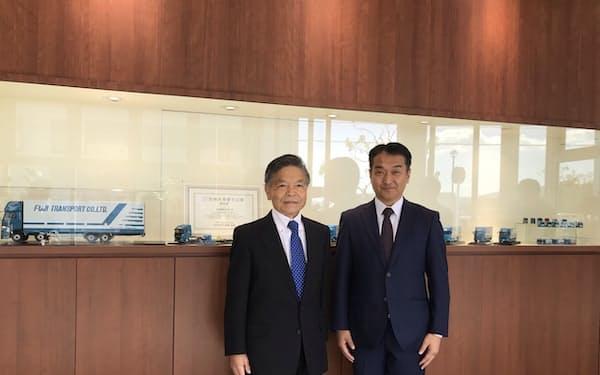 FLPの斉藤前社長㊧は松岡社長ら富士運輸側と接触後2カ月で会社売却を実現した(奈良市)