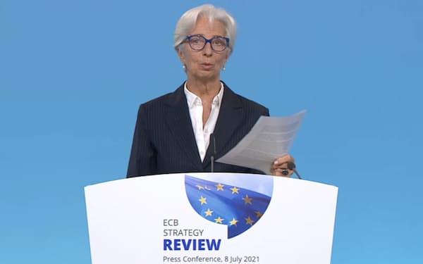 欧州中銀のラガルド総裁は「2%が上限でないことを断固示すものだ」と強調した(8日)
