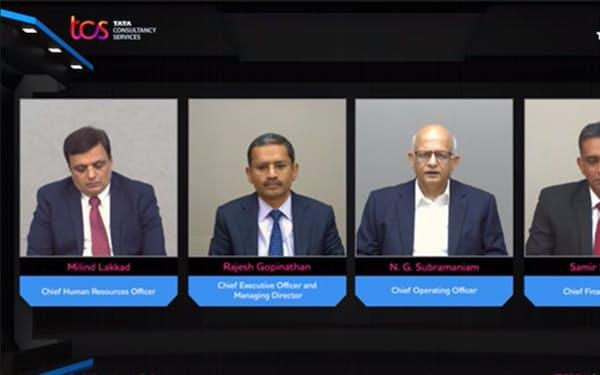8日、オンライン会見で決算を説明するTCS経営陣(左から2人目がラジェシュ・ゴピナタンCEO)