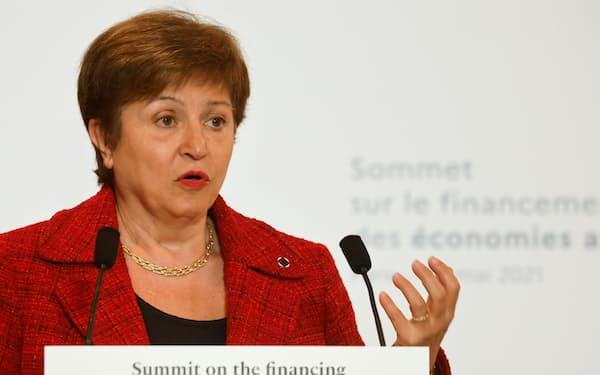IMFのゲオルギエバ専務理事はSDRは世界経済の回復力と安定性を促進すると強調した=ロイター