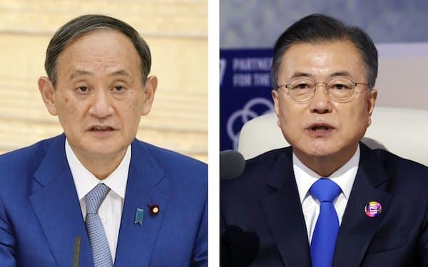 菅義偉首相と韓国の文在寅大統領の会談は初めてとなる=聯合・共同