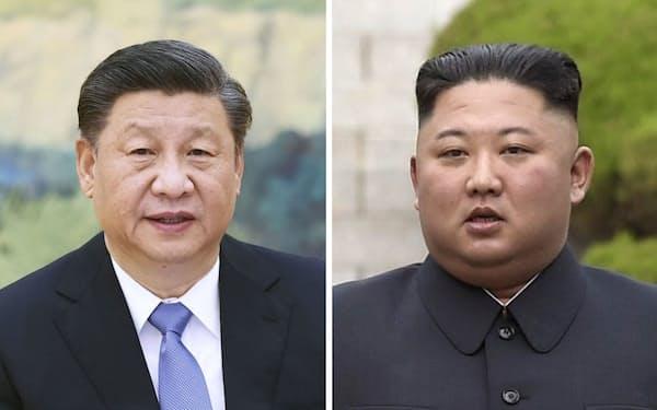 中国の習近平国家主席(新華社=共同)、北朝鮮の金正恩朝鮮労働党総書記(AP=共同)