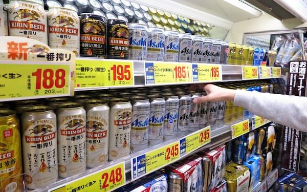 ビール系飲料の販売数量は9年連続で前年を下回った。