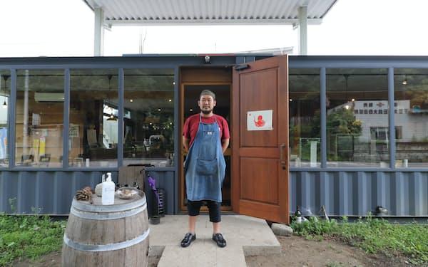 Punto大谷町食堂の店舗はガソリンスタンドの建物をリノベーションした