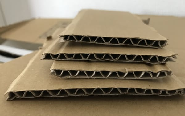 コーンスターチのりを使い、波形の中しんの上下に外装用ライナーを貼り合わせる