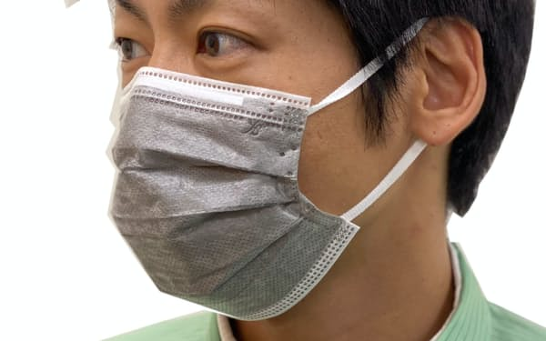 銅合金の粒子を不織布に蒸着させたマスク