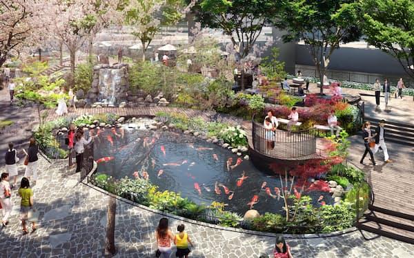 東京駅近くにニシキゴイが泳ぐ池が誕生する=イメージ