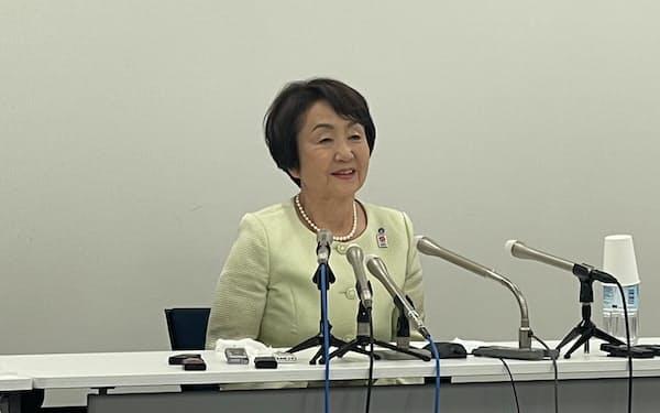 横浜市の林市長が4選出馬を表明した(15日、市役所)