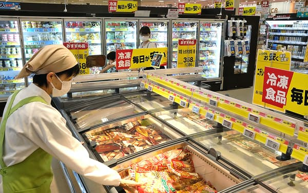 コロナ下で存在感は高まったが値下げ圧力は根強い(スーパーの冷食売り場)