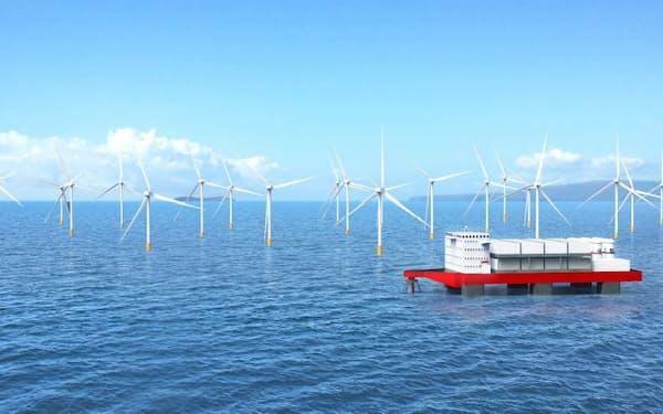 洋上風力発電所の近くに水素プラントをつくり送電コストを削減する(イメージ)