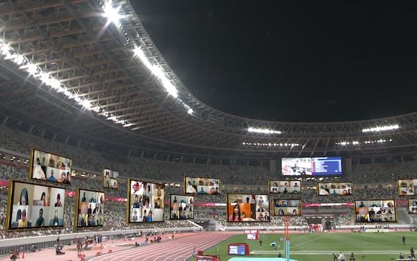 TBSは視聴者の自宅でのリモート応援を五輪中継に合成する(写真は5月に開催した陸上競技大会での様子)