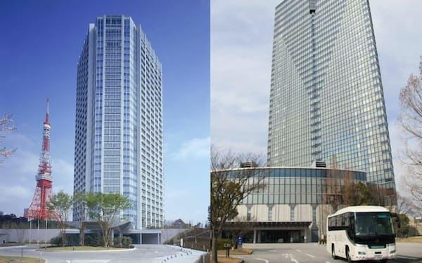 西武HDは「ザ・プリンスパークタワー東京」(写真左)や「びわ湖大津プリンスホテル」(同右)など40カ所程度の売却交渉に入った