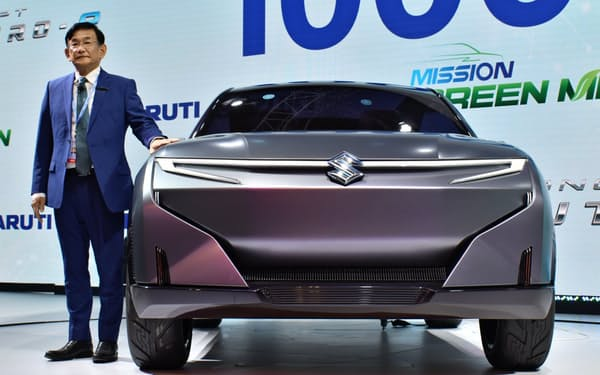 スズキはインドでのシェアが約5割に達する(マルチ・スズキが20年2月にインドの自動車ショーで公開したEVのコンセプト車)